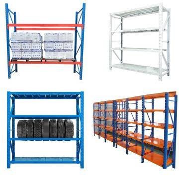 Warehouse racks with wire shelves