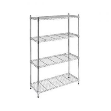 Red color metal wire potato chips display shelf replaceable 4 layers floor free standing snack display rack with wheels